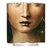 Head Of The Savior Shower Curtain by Leonardo Da Vinci