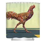 Head-on Chicken Shower Curtain by James W Johnson