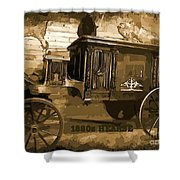 Hearse Poster Shower Curtain by Crystal Loppie