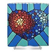 Heart Art - Love Conquers All 2 Shower Curtain by Sharon Cummings