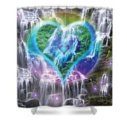 Heart Of Waterfalls Shower Curtain by Alixandra Mullins