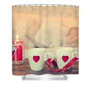 Heart Teacups Shower Curtain by Amanda Elwell