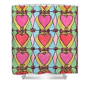Hearts A'la Stained Glass Shower Curtain by Mag Pringle Gire