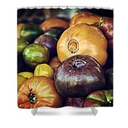 Heirloom Tomatoes At The Farmers Market Shower Curtain by Scott Norris