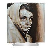 'hepburn De Los Muertos' Shower Curtain by Christian Chapman Art