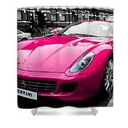 Her Pink Ferrari Shower Curtain by Matt Malloy