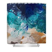 High As A Mountain- Contemporary Abstract Painting Shower Curtain by Linda Woods
