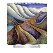 Highway With Fog Shower Curtain by Jen Norton