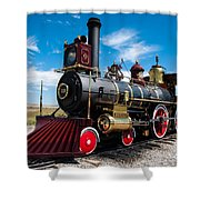 Historic Steam Locomotive - Promontory Point Shower Curtain by Gary Whitton