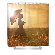 Historical Woman With Parasol In A Meadow At Sunset Shower Curtain by Lee Avison