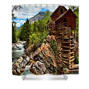 History On The Edge Shower Curtain by Adam Jewell
