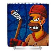 Hockey Homer Shower Curtain by Marlon Huynh