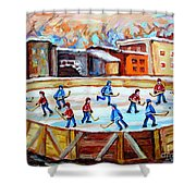 Hockey In The City Outdoor Hockey Rink Montreal Memories Winter City Scenes Painting Carole Spandau Shower Curtain by Carole Spandau
