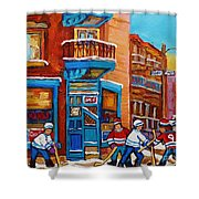 Hockey Stars At Wilensky's Diner Street Hockey Game Paintings Of Montreal Winter  Carole Spandau Shower Curtain by Carole Spandau