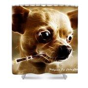 Hollywood Fifi Chika Chihuahua - Electric Art - With Text Shower Curtain by Wingsdomain Art and Photography