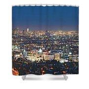 Hollywood Skyline Night Magic Hour Los Angeles Ca  Shower Curtain by David Zanzinger