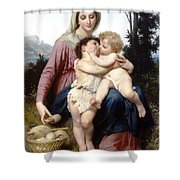 Holy Family Shower Curtain by William Bouguereau