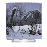 Home Through The Snow Shower Curtain by Ron Jones