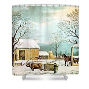 Home To Thanksgiving Shower Curtain by Currier and Ives