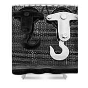 Hook Me Up BW Shower Curtain by Susan Candelario