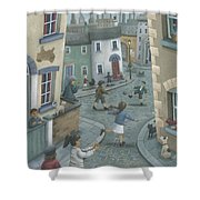 Hopscotch Down The Hill Shower Curtain by Peter Adderley