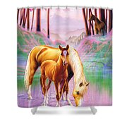 Horse And Foal Shower Curtain by Andrew Farley