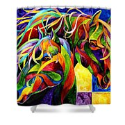 Horse Hues Shower Curtain by Sherry Shipley