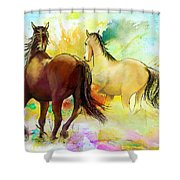 Horse paintings 009 Shower Curtain by Catf