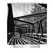 Horse Pen Creek Bridge Black And White Shower Curtain by Sandi OReilly