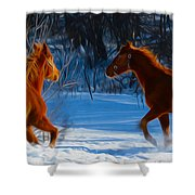 Horses At Play Shower Curtain by Tracy Winter