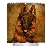 Hoss - German Shepherd Dog Shower Curtain by Sandy Keeton
