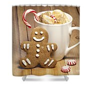 Hot Chocolate Toasted Marshmallows and a Gingerbread Cookie Shower Curtain by Juli Scalzi