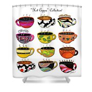 Hot Cuppa Whimsical Colorful Coffee Cup Designs By Romi Shower Curtain by Megan Duncanson