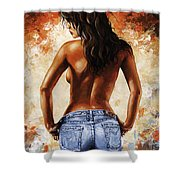 Hot Jeans 02 Blue Shower Curtain by Emerico Imre Toth