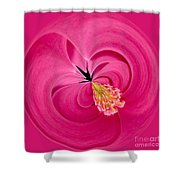 Hot Pink And Round Shower Curtain by Anne Gilbert