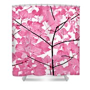 Hot Pink Leaves Melody Shower Curtain by Jennie Marie Schell