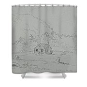 House In Mount Desert Shower Curtain by  Thomas Cole