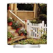 House - Rutherford Nj - My Grandmother's Garden  Shower Curtain by Mike Savad