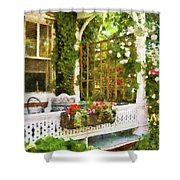 Houses - New Hope Pa - Come Stay With Us  Shower Curtain by Mike Savad