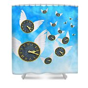 How Time Flies Shower Curtain by Juli Scalzi