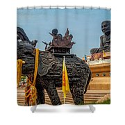 Huay Mongkol Temple  Shower Curtain by Adrian Evans