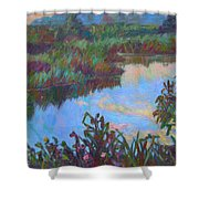Huckleberry Line Trail Rain Pond Shower Curtain by Kendall Kessler
