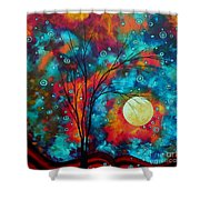 Huge Colorful Abstract Landscape Art Circles Tree Original Painting Delightful By Madart Shower Curtain by Megan Duncanson