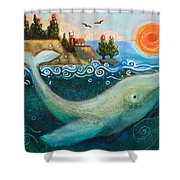 Humpback Whales In Santa Cruz Shower Curtain by Jen Norton