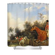 Hunting Scene Shower Curtain by Bernard Edouard Swebach