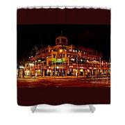 Huntington Beach Downtown Nightside 1 Shower Curtain by Jim Carrell