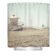 Huntington Beach Lifeguard Tower #1 Retro Photo Shower Curtain by Paul Velgos