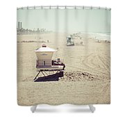 Huntington Beach Lifeguard Tower #1 Vintage Picture Shower Curtain by Paul Velgos