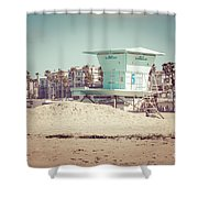 Huntington Beach Lifeguard Tower #5 Retro Picture Shower Curtain by Paul Velgos