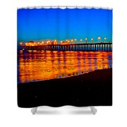 Huntington Beach Pier - Nightside Shower Curtain by Jim Carrell